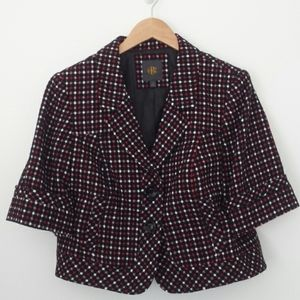 The Limited Black Woven Dots Cropped Blazer